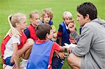 Coach talking to childrens soccer team Stock Photo - Premium Royalty-Freenull, Code: 649-06040312