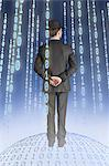 Businessman standing on binary globe with binary strings Stock Photo - Premium Royalty-Free, Artist: CulturaRM, Code: 614-06044020