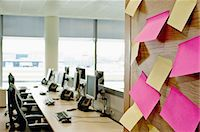 self adhesive note - Sticky notes on wall in empty office Stock Photo - Premium Royalty-Freenull, Code: 614-06044732