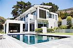 Modern home with swimming pool Stock Photo - Premium Royalty-Free, Artist: Aflo Relax, Code: 635-06045385