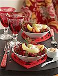 Hot-cold Touquet Ratte potatoes with grated beetroot Stock Photo - Premium Rights-Managed, Artist: Photocuisine, Code: 825-06045751