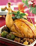 Capon with stuffing and roast figs Stock Photo - Premium Rights-Managed, Artist: Photocuisine, Code: 825-06046439