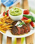 Mexican-style ostrich steak with guacamole Stock Photo - Premium Rights-Managed, Artist: Photocuisine, Code: 825-06046627