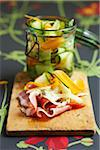 Sliced raw ham with marinated vegetables Stock Photo - Premium Rights-Managed, Artist: Photocuisine, Code: 825-06047473