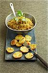 Pilaf rice and roast potatoes Stock Photo - Premium Rights-Managed, Artist: Photocuisine, Code: 825-06047497