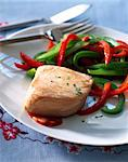 Thick piece of salmon with red and green peppers Stock Photo - Premium Rights-Managed, Artist: Photocuisine, Code: 825-06047512