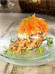 King crab and grated carrot open sandwich Stock Photo - Premium Rights-Managed, Artist: Photocuisine, Code: 825-06047705
