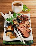 Glazed duck Magret with pan-fried mushrooms Stock Photo - Premium Rights-Managed, Artist: Photocuisine, Code: 825-06047807