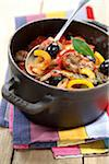 Pork,pepper and olive stew Stock Photo - Premium Rights-Managed, Artist: Photocuisine, Code: 825-06048191