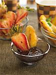 Fruit Tempuras with chocolate sauce Stock Photo - Premium Rights-Managed, Artist: Photocuisine, Code: 825-06048383