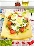 Tomato,mozzarella,hard-boiled egg and green asparagus salad Stock Photo - Premium Rights-Managed, Artist: Photocuisine, Code: 825-06048418