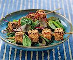 Marinated tofu coated with sesame seed brochettes Stock Photo - Premium Rights-Managed, Artist: Photocuisine, Code: 825-06048757
