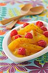 Stewed mangoes with fresh raspberries ,honey and vanilla Stock Photo - Premium Rights-Managed, Artist: Photocuisine, Code: 825-06049126