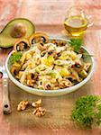 Pasta with mushrooms,avocado,walnuts and poppy seeds Stock Photo - Premium Rights-Managed, Artist: Photocuisine, Code: 825-06049490