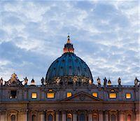religious cross nobody - Italy, Rome, Vatican City, St. Peter's Basilica at dusk Stock Photo - Premium Royalty-Freenull, Code: 640-06050014