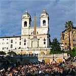 Italy, Rome, Tourists on Spanish Steps at sunset, church of the Santissima Trinita dei Monti in background Stock Photo - Premium Royalty-Free, Artist: Cultura RM, Code: 640-06050272