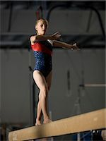 USA, Utah, Orem, girl (10-11) exercising on balance beam Stock Photo - Premium Royalty-Freenull, Code: 640-06050740
