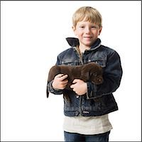 child with a puppy Stock Photo - Premium Royalty-Freenull, Code: 640-06050833
