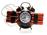exploding - dynamite alarm clock Stock Photo - Premium Royalty-Freenull, Code: 640-06051123