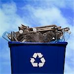 full recycling bin Stock Photo - Premium Royalty-Freenull, Code: 640-06051131