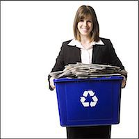 businessperson holding a recycling bin Stock Photo - Premium Royalty-Freenull, Code: 640-06051172