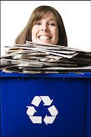 businessperson holding a recycling bin Stock Photo - Premium Royalty-Freenull, Code: 640-06051173