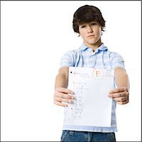 young man showing the grade he received Stock Photo - Premium Royalty-Freenull, Code: 640-06051392