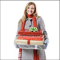 girl with presents Stock Photo - Premium Royalty-Freenull, Code: 640-06051478
