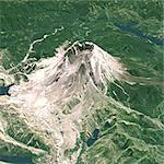 Mount St Helens In 3D, North West View, Washington State, Usa, True Colour Satellite Image. Mount St-Helens, USA, true colour satellite image. North-West view of Mount St-Helens in 3D, an active volcano (2250m high) in Washington State, US. Image using LANDSAT data. Print size 30 x 30 cm. Stock Photo - Premium Rights-Managed, Artist: Universal Images Group, Code: 872-06053103