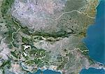 Bulgaria, Europe, True Colour Satellite Image With Border. Satellite view of Bulgaria (with border). This image was compiled from data acquired by LANDSAT 5 & 7 satellites. Stock Photo - Premium Rights-Managed, Artist: Universal Images Group, Code: 872-06053163