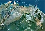 Venezuela, South America, True Colour Satellite Image With Border. Satellite view of Venezuela (with border). This image was compiled from data acquired by LANDSAT 5 & 7 satellites. Stock Photo - Premium Rights-Managed, Artist: Universal Images Group, Code: 872-06053185
