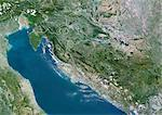 Croatia, Europe, True Colour Satellite Image With Border. Satellite view of Croatia (with border). This image was compiled from data acquired by LANDSAT 5 & 7 satellites. Stock Photo - Premium Rights-Managed, Artist: Universal Images Group, Code: 872-06053187