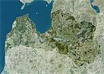 Latvia, Europe, True Colour Satellite Image With Border And Mask. Satellite view of Latvia (with border and mask). This image was compiled from data acquired by LANDSAT 5 & 7 satellites. Stock Photo - Premium Rights-Managed, Artist: Universal Images Group, Code: 872-06053202