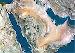 Saudi Arabia, Middle East, True Colour Satellite Image With Border. Satellite view of Saudi Arabia (with border). This image was compiled from data acquired by LANDSAT 5 & 7 satellites. Stock Photo - Premium Rights-Managed, Artist: Universal Images Group, Code: 872-06053247