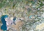 Kazakhstan, Asia, True Colour Satellite Image With Border. Satellite view of Kazakhstan (with border). This image was compiled from data acquired by LANDSAT 5 & 7 satellites. Stock Photo - Premium Rights-Managed, Artist: Universal Images Group, Code: 872-06053287