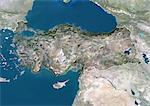 Turkey, Asia, True Colour Satellite Image With Border And Mask. Satellite view of Turkey (with border and mask). This image was compiled from data acquired by LANDSAT 5 & 7 satellites. Stock Photo - Premium Rights-Managed, Artist: Universal Images Group, Code: 872-06053325
