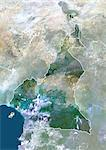Cameroon, Africa, True Colour Satellite Image With Border And Mask. Satellite view of Cameroon (with border and mask). This image was compiled from data acquired by LANDSAT 5 & 7 satellites. Stock Photo - Premium Rights-Managed, Artist: Universal Images Group, Code: 872-06053337