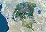 Democratic Republic Of The Congo, Africa, True Colour Satellite Image With Border And Mask. Satellite view of the Democratic Republic of the Congo - Kinshasa (with border and mask). This image was compiled from data acquired by LANDSAT 5 & 7 satellites. Stock Photo - Premium Rights-Managed, Artist: Universal Images Group, Code: 872-06053385