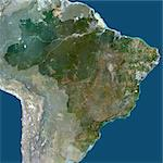 Brazil, South America, True Colour Satellite Image With Mask. Satellite view of Brazil (with mask), print size 42x42cm. This image was compiled from data acquired by LANDSAT 5 & 7 satellites. Stock Photo - Premium Rights-Managed, Artist: Universal Images Group, Code: 872-06053503