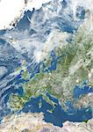Europe With Cloud Coverage, True Colour Satellite Image. True colour satellite image of Europe with cloud coverage. This image in Lambert Conformal Conic projection was compiled from data acquired by LANDSAT 5 & 7 satellites. Stock Photo - Premium Rights-Managed, Artist: Universal Images Group, Code: 872-06053583