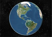 space - Globe Centred On The Americas, True Colour Satellite Image. True colour satellite image of the Earth centred on the Americas, during summer solstice at 6 p.m GMT. This image in orthographic projection was compiled from data acquired by LANDSAT 5 & 7 satellites. Stock Photo - Premium Rights-Managednull, Code: 872-06053648