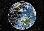 Globe Centred On The Americas, True Colour Satellite Image. True colour satellite image of the Earth centred on the Americas with cloud coverage, during winter solstice at 12 a.m GMT. This image in orthographic projection was compiled from data acquired by LANDSAT 5 & 7 satellites. Stock Photo - Premium Rights-Managed, Artist: Universal Images Group, Code: 872-06053655