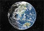 Globe Centred On Asia And Oceania, True Colour Satellite Image. True colour satellite image of the Earth centred on Asia and Oceania with cloud coverage, at the equinox at 12 p.m GMT. This image in orthographic projection was compiled from data acquired by LANDSAT 5 & 7 satellites. Stock Photo - Premium Rights-Managed, Artist: Universal Images Group, Code: 872-06053691