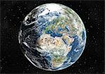 Globe Centred On Europe And Africa, True Colour Satellite Image. True colour satellite image of the Earth centred on Europe and Africa with cloud coverage, during summer solstice at 6 a.m GMT. This image in orthographic projection was compiled from data acquired by LANDSAT 5 & 7 satellites. Stock Photo - Premium Rights-Managed, Artist: Universal Images Group, Code: 872-06053693