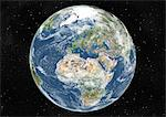 Globe Centred On Europe And Africa, True Colour Satellite Image. True colour satellite image of the Earth centred on Europe and Africa with cloud coverage, during summer solstice at 12 a.m GMT. This image in orthographic projection was compiled from data acquired by LANDSAT 5 & 7 satellites. Stock Photo - Premium Rights-Managed, Artist: Universal Images Group, Code: 872-06053695