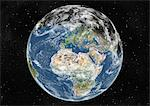 Globe Centred On Europe And Africa, True Colour Satellite Image. True colour satellite image of the Earth centred on Europe and Africa with cloud coverage, during winter solstice at 12 a.m GMT. This image in orthographic projection was compiled from data acquired by LANDSAT 5 & 7 satellites. Stock Photo - Premium Rights-Managed, Artist: Universal Images Group, Code: 872-06053703