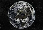 Globe Centred On Europe And Africa, True Colour Satellite Image. True colour satellite image of the Earth centred on Europe and Africa with cloud coverage, during winter solstice at 12 p.m GMT. This image in orthographic projection was compiled from data acquired by LANDSAT 5 & 7 satellites. Stock Photo - Premium Rights-Managed, Artist: Universal Images Group, Code: 872-06053707
