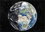 Globe Centred On Europe And Africa, True Colour Satellite Image. True colour satellite image of the Earth centred on Europe and Africa with cloud coverage, at the equinox at 6 a.m GMT. This image in orthographic projection was compiled from data acquired by LANDSAT 5 & 7 satellites. Stock Photo - Premium Rights-Managed, Artist: Universal Images Group, Code: 872-06053709