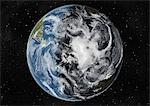 Globe Centred On The South Pole, True Colour Satellite Image. True colour satellite image of the Earth centred on the South Pole with cloud coverage, during summer solstice at 6 p.m GMT. This image in orthographic projection was compiled from data acquired by LANDSAT 5 & 7 satellites. Stock Photo - Premium Rights-Managed, Artist: Universal Images Group, Code: 872-06053745