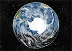 Globe Centred On The South Pole, True Colour Satellite Image. True colour satellite image of the Earth centred on the South Pole with cloud coverage, during winter solstice at 12 a.m GMT. This image in orthographic projection was compiled from data acquired by LANDSAT 5 & 7 satellites. Stock Photo - Premium Rights-Managed, Artist: Universal Images Group, Code: 872-06053751